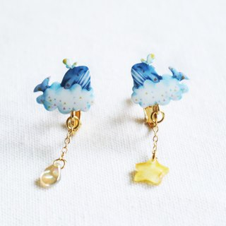 Whale and Star Rain Earrings