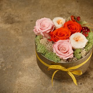 Xi Murong # # orange flower Preserved flower box immortalized flower # # FlowerBox