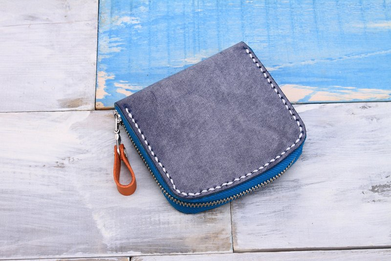 [Cut line] pure hand leather simple zipper purse / card package / business card wallet blue