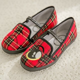 Nikki red plaid blinking loafers (children)