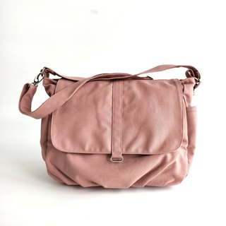 Pink canvas Messenger bag / Diaper bag / Travel shoulder bag - no.18 Daniel
