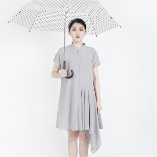 Voyager navigator asymmetric wave dress _8SF115_dark gray / white