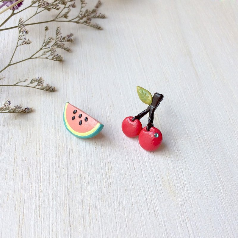 Mixed Fruit collection! Melon and Cherry earrings, Fruit earrings