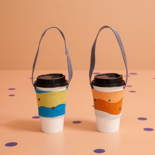 Drink cup with two sets / pearl milk tea / fresh blue green + caramel brown