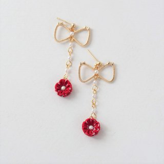 E27 [Lovely Sweetheart] Bow Red Flower Beads Earrings Ear Clips 14kgf 925 Custom