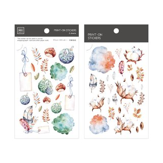 [Print-On Stickers] | Flower Series 43-Autumn Jade Bird | Pocket, DIY Good Friends