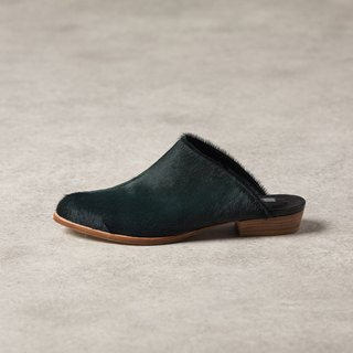 ZOODY / Lichen / handmade shoes / flat back slip / dark green