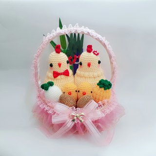 Warm wool line with chicken pink basket complete combination