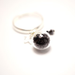 A Handmade black crystal strap glass ball Ring