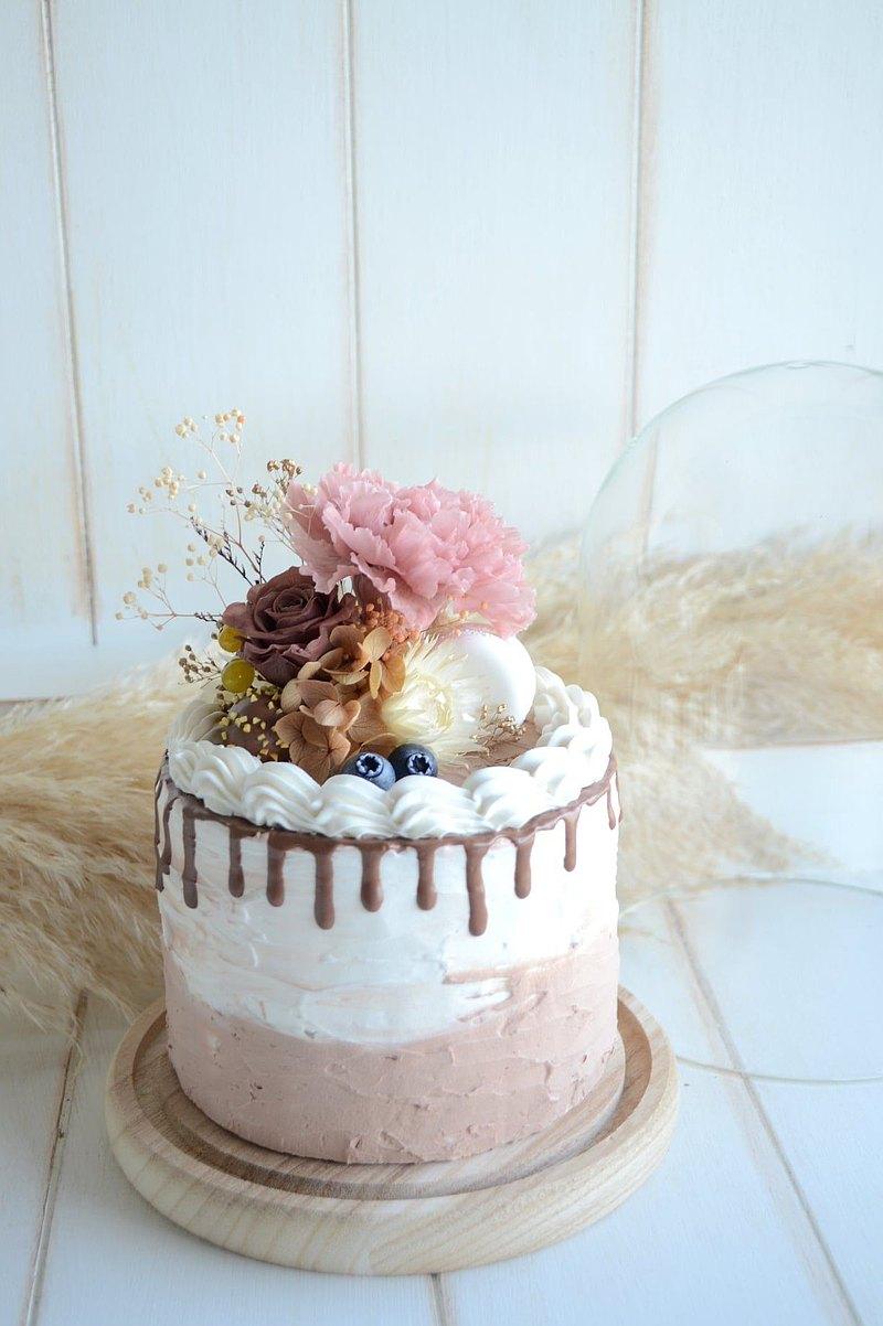 仿真.提拉奶昔永生花蛋糕花禮  /  生日蛋糕 /  母親節蛋糕 /