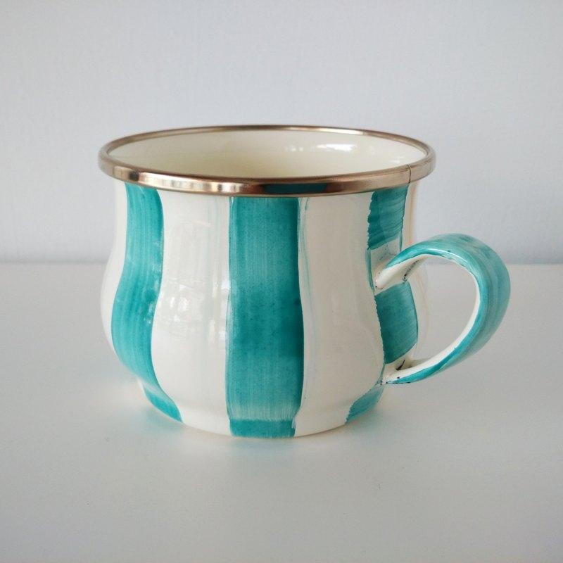 薄荷藍條紋彩繪琺瑯杯 附手作禮物包裝