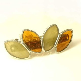 Stained glass bulletta 【Leaf】 tortoiseshell amber