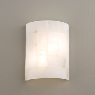 Semi-arc square alabaster light wall lamp
