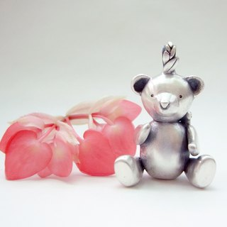 Bee & Teddy Bear--Silver Teddy Bear--Pendant Necklace with Wax Rope