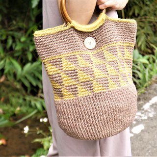 Wooden buckle triangle rope bag - yellow