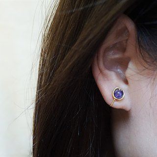 << Gold wire frame ear needle - amethyst >> 6mm amethyst (other painless ear clip)