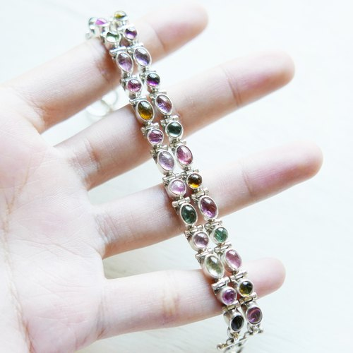 (Limited) color world | candy Bi 壐 hand 925 sterling silver natural stone double bracelet