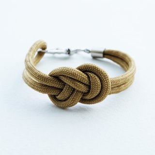 Paracord infinity-knot with metal clip bracelet in KAKI BROWN