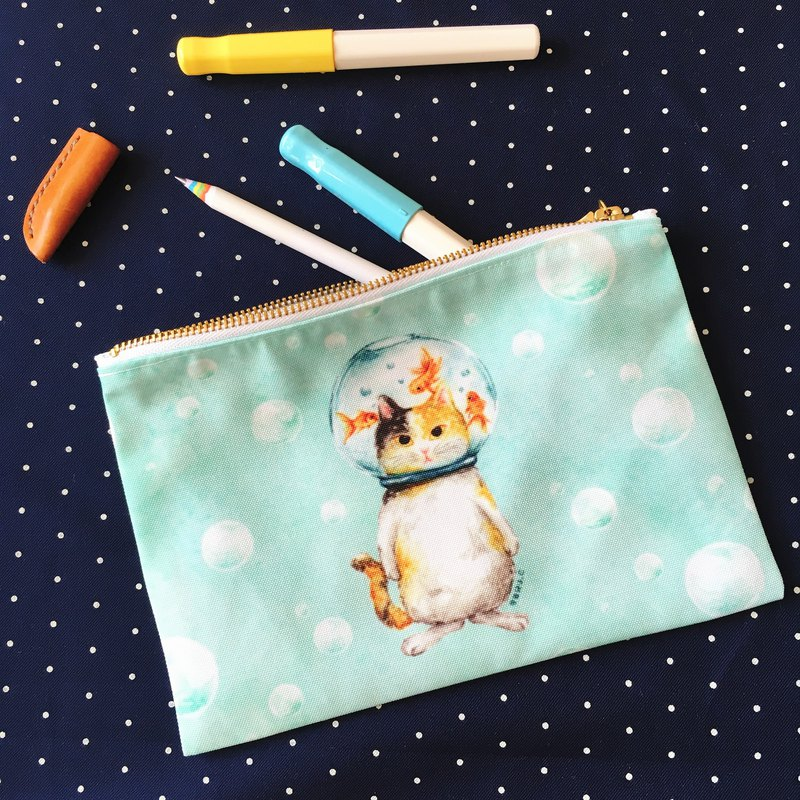 Glass ball cat goldfish cat storage bag pencil case