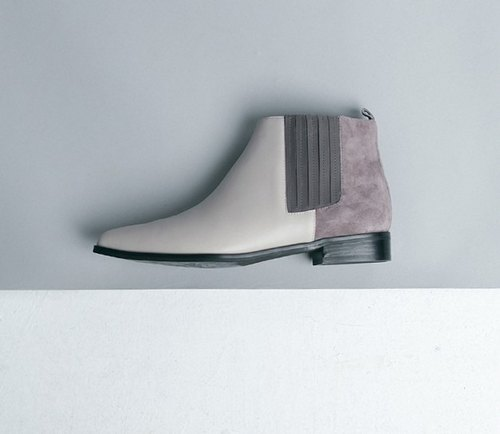 Minimalist bandage double fight leather low with dermal ankle boots gray brown