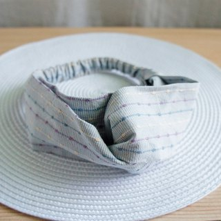 Lovely [Japan first dyed cloth] embroidery striped butterfly elastic hair band, hair ring [grey blue]