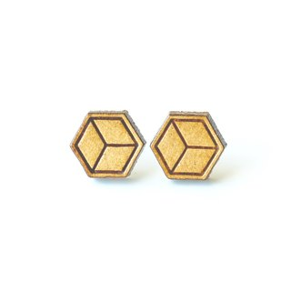 Plain wood earrings-Geometric cube