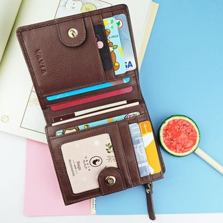 """ Chocolate "" Pocket Book Short Wallet / Cow Leather 錢包- 皮革-財布"