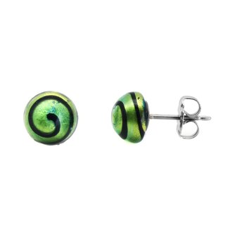 Turn colorful - a pair of star green glass pure titanium earrings