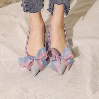Magic ribbon woven piping low heel shoes blue