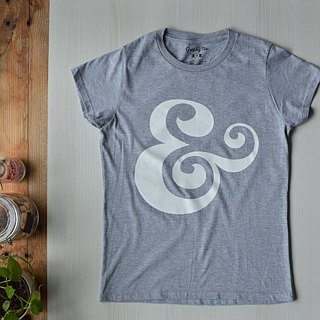 The Ampersand Ladies Tshirt,Grey,Typography,Lettering,Artist Design,Bold Graphic