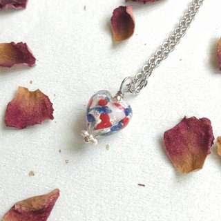 [Limited to Venice series] Patriotic Necklace Heart-shaped silver foil pendant Italian imports Venice Murano (Murano) hand-made silver foil glass beads necklace