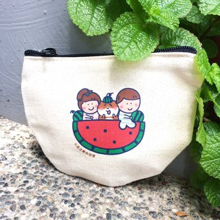 Watermelon cat boat の daily semi-circular coin purse canvas hand-printed (card holder bag) Coin bag