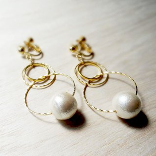 Three Ring and pearl Earrings