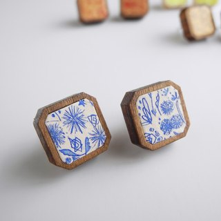 Copper engravings and wood pierced <Wildflowers> Cream × Blue