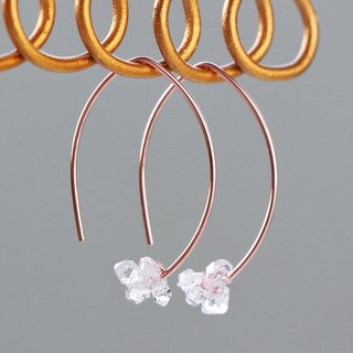 14kgf Rose gold-Herkimerdiamond mini marquise pierced earrings