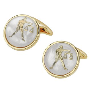 White Mother of Pearl Libra Gold Cufflinks
