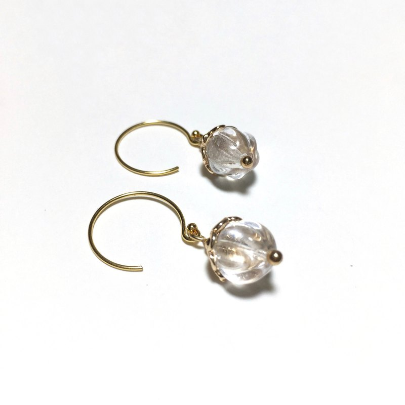 【】 If Wand Crystal daisy. Transparent system Czech crystal. Imported 18k gold plated ear hooks. Earrings / ear clip.
