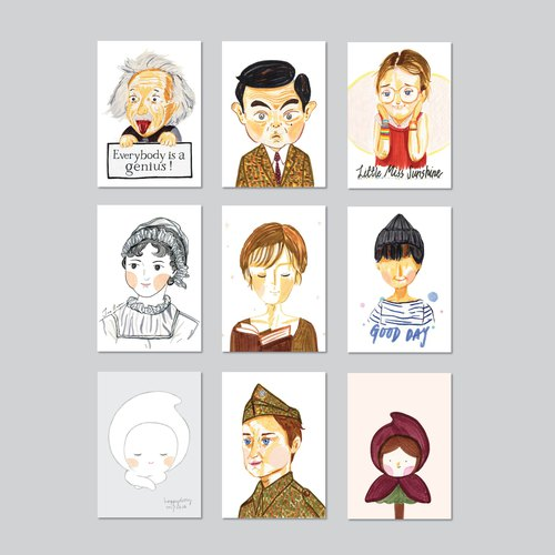 Illustration / Portrait Postcards Series / SET of 9 / A6