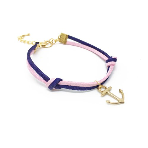 Handmade Simple Stylish Anchor Bracelets Rose Gold Series–pink and blue limited