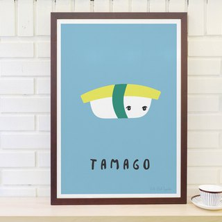 Scandinavian retro minimalist poster Sushi No. 3 - Tamago Yuzi burn original customized paintings without frame