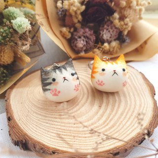Cat small fat clay key ring