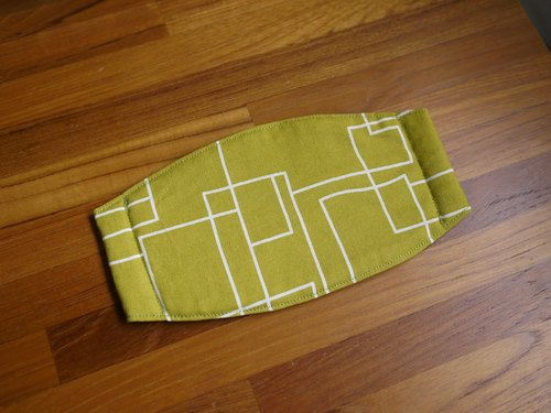 Hand-made custom = daily essential small hand-made masks were = = = Nordic geometric lines yellow and green