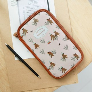 Indigo Liu Lin Fengsheng Leather Scones Pack Universal Pencil Case BIG-Pink Brown Bear, IDG75522