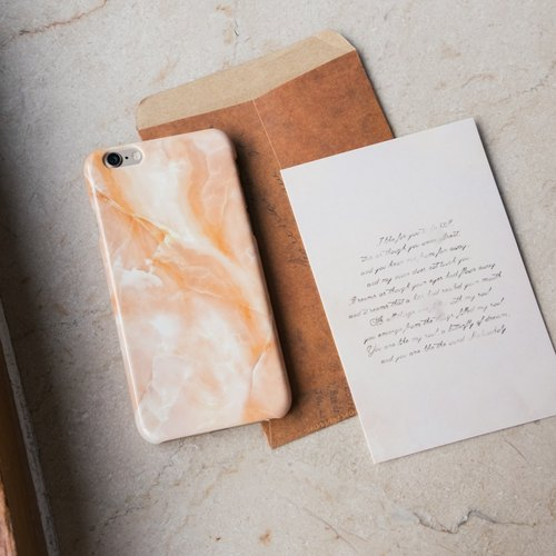 Original Imitated  Yellow Marble Phone case (iPhone model) with hard shell back case
