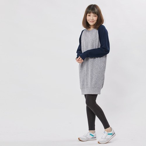 French terry long sleeve sweat dress / Dark blue
