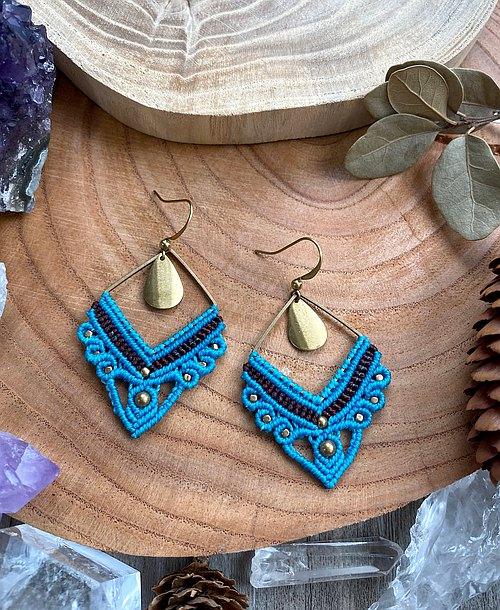 Misssheep-A15- Blue Classical-National style South American wax wire braided brass bead earrings (ear hook/ear clip)