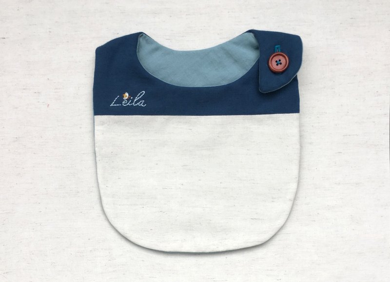 Customized name hand-embroidered deep sea blue infants and children's live bibs
