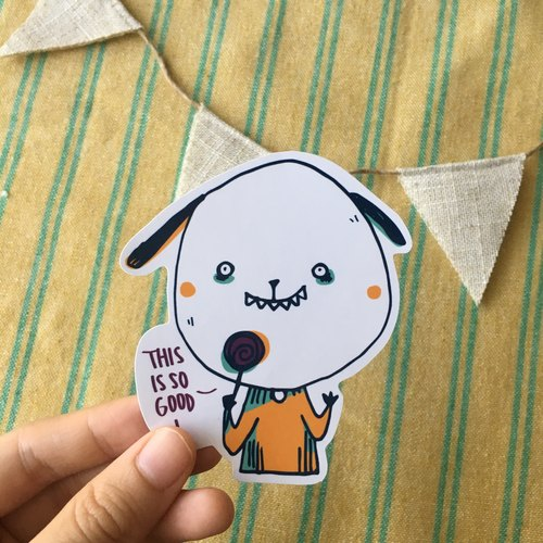 Eat lollipop puppy waterproof stickers