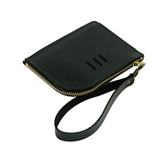 L-type leather coin purse __ zuo zuo handmade leather zipper bag