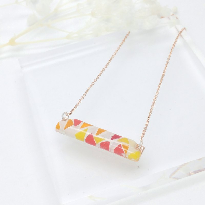 Mosaic Necklace with 16K Rose gold-plated Brass Chain
